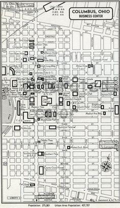 Columbus Ohio OH Map - German Village, Ohio Map, The Buckeye State, Old Shows, Ohio State University, Columbus Ohio, Antique Maps, City Maps, Iowa