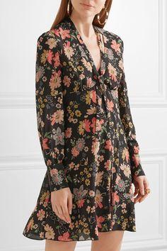 REDValentino - Floral-print Silk-georgette Mini Dress - Pink