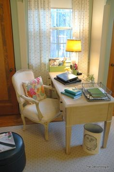 Simple, pretty home office from the Decorologist. - I'd like to write by a desk like this, if I wasn't a bed-writer