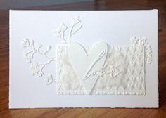 """Die schlichte Karte: Einfach """"Love""""  """"Blooming Branch"""" von Memorybox Embossing Folder """"Candy Hearts"""" von Sizzix """"Handwritten Love"""" von Sizzix, Tim Holtz Bigs """"Heartfelt"""" von Sizzix, Tim Holtz"""