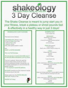 If you are interested in Shakeology, please visit my website. I am a independent Beachbody coach: www.myshakeology.com/iib4  Previous pinner: Shakeology 3 Day Cleanse....time to do this again! I need to break my plateau!