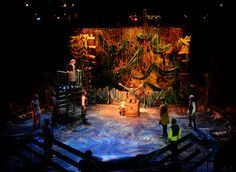 The design for Peter and the Starcatcher is a found object of sea, ship, and jungle elements wherein the actors play out the story of things pre- Peter Pan. Inspired by Edwardian toys, Set Design Theatre, Stage Design, Prop Design, Peter Pan Musical, Peter And The Starcatcher, Star Wars, Stage Set, Scenic Design, Stage Lighting