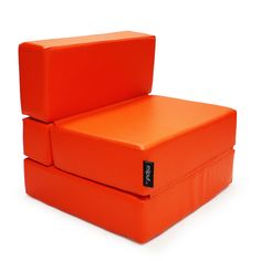 Puf Cama Convertible Polipiel Naranja