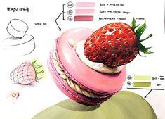 """좋아요 24개, 댓글 2개 - Instagram의 노원스카이미술학원(@no1sky)님: """"예비반 수업자료 . . . #딸기#마카롱#기초디자인#표현력#개체묘사#예비반#고1#고2#고3#입시미술#노원#미술학원#스카이미술학원"""" Cute Food Drawings, Realistic Drawings, Colorful Drawings, Art Drawings, Strawberry Drawing, Deco Paint, Donuts, Pallet Wall Art, Watercolor Food"""