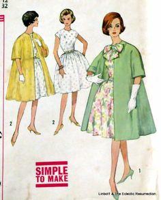 Uncut Vintage 1950s Dress & Coat Pattern Bust 32 Simplicity 4395 #Simplicity
