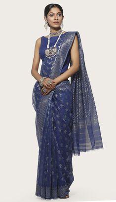 buy Blue half silk jamdani saree with all over silver and golden buti in Bangladesh. Dhakai Jamdani Saree, Tussar Silk Saree, Beautiful Saree, Beautiful Outfits, Bangladeshi Saree, Dress Outfits, Fashion Outfits, Dresses, Drape Sarees