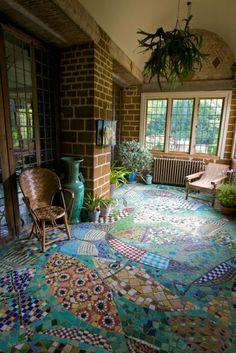 Amazing garden design charming floor design with chalk paint mosaic floor Glass Lanterns. Sarah Richardson Design: Elegant foyer with gray . Mosaic Art, Mosaic Glass, Mosaic Tiles, Stained Glass, Tiling, Mosaic Floors, Mosaic Tile Crafts, Mosaic Birdbath, Pebble Mosaic