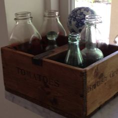 Kitchen collection of vintage bottles