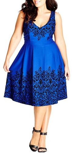Stunning blue dress is perfect for special occasions, City Chic Border Flocked Fit & Flare Dress (Plus Size)
