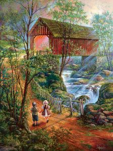 300 to SunsOut Jigsaw Puzzles Illustrations, Illustration Art, Bridge Painting, Watercolor Projects, Puzzle Art, Cross Paintings, Covered Bridges, Nature Scenes, Fantasy Art