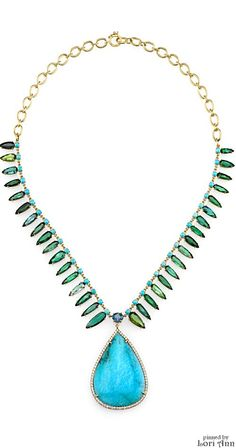 Irene Neuwirth One of a Kind Necklace with Turquoise, Green Tourmaline & Aquamarine