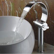 2015 Patent Design Brass Single Hole Robinet Luxurious waterfall Vessel Faucet Cascade Lavatory Sink Mixer(China (Mainland))