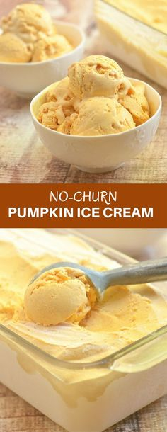 No-Churn Pumpkin Ice Cream that's rich, creamy, and bursting with pumpkin pie flavors is the perfect Fall or any time of the year treat. It's so easy to make with no ice cream maker or churning needed!
