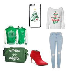 """""""Slytherin holiday look💚"""" by prettylittlelizzy on Polyvore featuring River Island and Michael Antonio"""