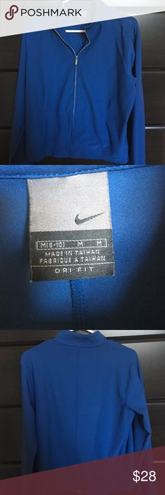 Nike Dry Fit Blue Zip-Jacket Nike blue zip-up dry fit jacket, size medium. Great condition, no stains/rips/tears. Nike Jackets & Coats