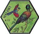 Purple crested turaco stamp, Malawi