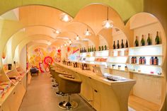 Amika: Hairdo Bar Opens in Hong Kong/retail space design: note cut plywood.
