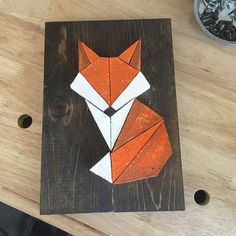 Geometric Fox - AlleyLux - New Year Pic's Fox Crafts, Arts And Crafts, Kleiner Fuchs Tattoo, Geometric Fox, Fox Decor, Quilled Creations, Fox Art, Wooden Wall Art, Barn Quilts