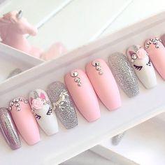 Pink unicorn press on false nails stiletto nails short coffin Fake nails Acrylic… Pink unicorn press on false nails stiletto nails short coffin Fake nails Acrylic nails gel nails holographic short nails Birthday Nail Designs, Birthday Nails, Acrylic Nail Designs, Nail Art Designs, Acrylic Nails, Pink Nails, My Nails, Polish Nails, Glitter Nails