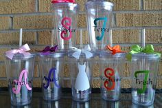 6  Wedding Party Cups Tumbler   Set of 6  by jumpingjune on Etsy, $58.00