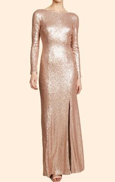 MACloth Long Sleeves Sequin Maxi Prom Dress Champagne Formal Evening Gown Evening Dresses With Sleeves, Ball Gowns Evening, Plus Size Prom Dresses, Formal Dresses, Champagne Gown, Bridal Dresses, Bridesmaid Dresses, Sequin Maxi, Celebrity Dresses