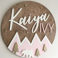 This pink and gold mountain name sign features a polar bear under the stars. It is filled with whimsy and can be fully customized Unisex Baby Names, Cute Baby Names, Baby Girl Names, Baby Name List, Baby Name Signs, Family Name Signs, Wood Name Sign, Wood Names, 3d Laser Printer