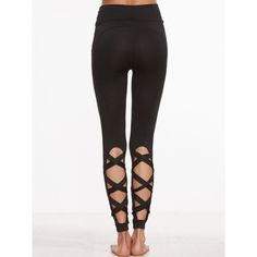 SheIn(sheinside) Black Cutout Crisscross Back Leggings (98 GTQ) ❤ liked on Polyvore featuring pants, leggings, cutout leggings, cut out pants, cut out leggings, cut-out pants and legging pants