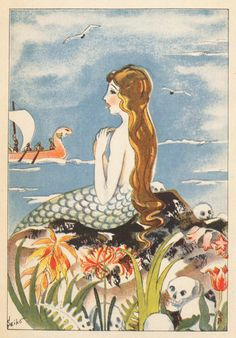Mermaid Illustration by Seiko for the Odyssey, 1929, from a series of Japanese children's textbooks.