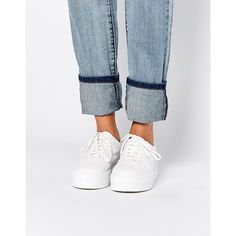 ASOS DAYSLEEPER Flatform Trainers (€19) ❤ liked on Polyvore featuring shoes, sneakers, white snake, asos footwear, white trainers, asos shoes, white sneakers and white shoes