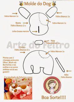 ✿Arte la Feltro✿: Moldes Fabric Animals, Felt Animals, Softies, Plushies, Dog Pattern, Softie Pattern, Felt Keyring, Dog Template, Dog Design