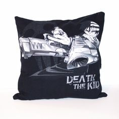 "One of a kind Soul Eater pillow featuring Death the Kid. - As soft as your favorite tee shirt - 16"" x 16"" pillow - Envelope closure in the back to make for easy washing and care - Made in the US"