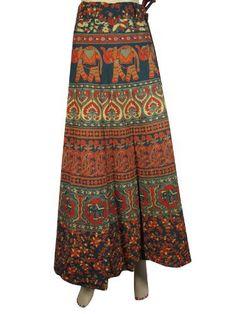Women Wrap Around Skirts Bohemian Teal Blue Red Elephant Print Cotton Wrapskirt Mogul Interior, http://www.amazon.com/dp/B009YCWLPC/ref=cm_sw_r_pi_dp_DO9Kqb0VNBY55
