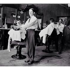 grip, in a vintage barbershop