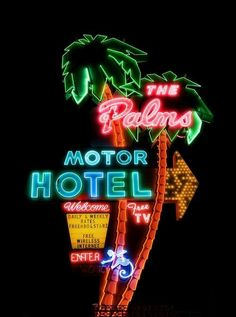 """Vintage motel glowing neon light sign, """"The Palms Motor Hotel,"""" Free TV! Bar Vintage, Vintage Neon Signs, Poster Vintage, Retro Signage, 3d Signage, Drops Of Jupiter, New Retro Wave, All Of The Lights, Neon Aesthetic"""