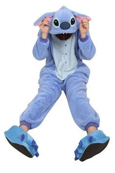 LATH.PIN Unisexe Anime Halloween Cosplay Kigurumi Pajamas Onesie Fleece Hoodies Costume de Deguisement Combinaison Adulte Ensemble de Pyjama Motif animaux (M, Stitch Bleu)
