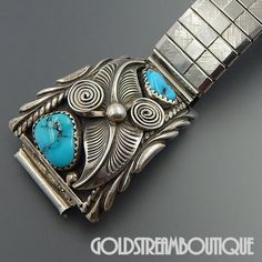 NATIVE AMERICAN ANNIE CHAPO NAVAJO STERLING SILVER TURQUOISE FEATHERS WATCH LINKS BAND