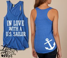 In love with a U.S. Sailor racer back tank top