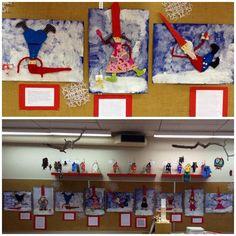 """""""Tonttujoukko"""". Sin. kartongille tuputettiin lumi. Oppilaat valitsivat tontun asennon (kaavan). Piirsivät tuon mallin avulla kartongille tonttunsa. Pap.kaavalle piirr. tontun vaatteet. Osat irti, nuppineuloilla kiinni kankaalle, liimaus kartonkitontun päälle. Tonttulakista piti tehdä pitkä. Tontut liimattu taustalle niin, että niiden välissä on WC-pap.rullarenkuloita. Näin varjokin esille. Paksulla siveltimellä hanki. Kädet kuumaliimalla. (Alkuopettajat / Katri Pietilä)"""