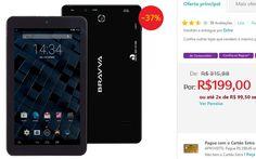 """Tablet Bravva BV-Quad com Tela 7"""" 8GB Wi-Fi Câmera 2MP Suporte à Modem 3G GPS Bluetooth Android 5.0 << R$ 14900 >>"""