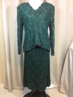 Dark Green Beaded #Designer Suit by Lawrence Kazar of New York Ladies Large by Oldtonewjewels on Etsy