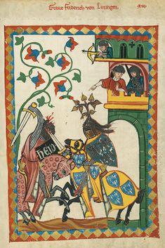 26r| Graf Friedrich I. von Leiningen (? - 1212) verheiratet mit Gertrud von Habsburg, pfälzisches Grafengeschlecht der von Alt-Leiningen. Ältere Linie (fränkischer Herkunft)  starben 1212 in männlicher Linie aus.