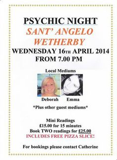 Psychic Night SantAngelo Wetherby 16th April - places are going fast... https://www.facebook.com/santangelowetherby.theangelbar