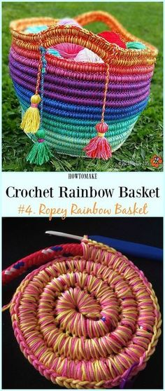 Ropey Rainbow Basket Free Crochet Pattern - #Crochet Rainbow #Basket Free Patterns