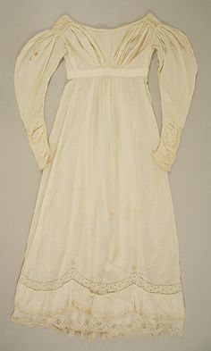 Walking dress | American | The Met 1820-1825 cotton dress.