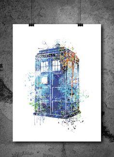 Doctor Who Tardis Watercolour Painting Print, watercolor painting, watercolor art, Illustration,Doctor Who Tardis poster, Doctor art