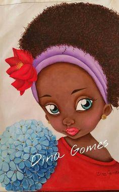 Negrita Black Women Art, Black Art, Cartoon Drawings, Art Drawings, African Art Paintings, Africa Art, African American Art, Creative Portraits, Fabric Painting