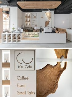 101 Cafe by Far Office - This modern coffee shop has a service area with open shelving, a cold case and a counter with the coffee maker. Back-lit display shelving brightens up a corner space, while artwork is highlighted with lighting. Coffee Shop Counter, Cafe Counter, Cafe Shop Design, Cafe Interior Design, Shop Counter Design, Deco Restaurant, Restaurant Design, Modern Restaurant, Bar Bistro