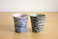 Japanese ceramics Nami cup set of 2 !black/blue
