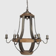 6 Light Round Wood Metal Chandelier
