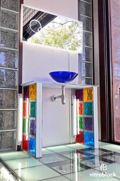 Glass Blocks Wall, Glass Block Windows, Glass Brick, Glass Door, Wc Design, House Design, Glass Block Shower, Bathroom Design Small, Vinyl Flooring